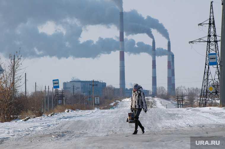 дым заводов в Курганской области